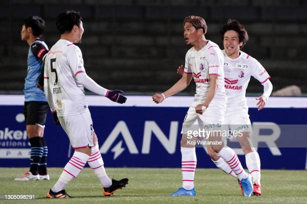 Yoshito Okubo of Cerezo Osaka celebrates the first goal during the J.League Meiji Yasuda J1 match between Kawasaki Frontale and Cerezo Osaka at the...