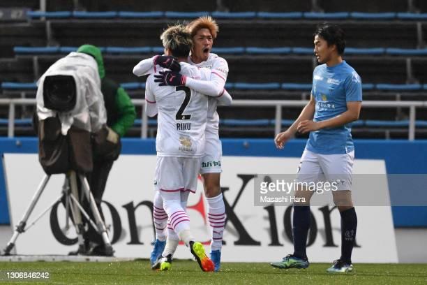 Yoshito Okubo of Cerezo Osaka celebrates the second goal during the J.League Meiji Yasuda J1 match between Yokohama FC and Cerezo Osaka at the NHK...