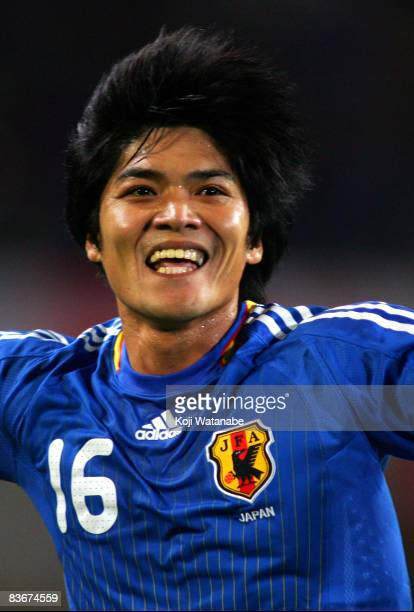 Yoshito Okubo of Japan celebrates the third goal during the Kirin Challenge Cup international friendly match between Japan and Syria at Home's...