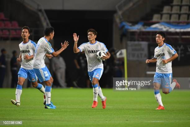 Yoshito Okubo of Jubilo Iwata celebrates the first goal during the JLeague J1 match between Kashima Antlers and Jubilo Iwata at Kashima Soccer...