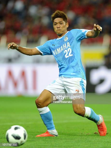 Yoshito Okubo of Jubilo Iwata in action during the JLeague J1 match between Urawa Red Diamonds and Jubilo Iwata at Saitama Stadium on August 15 2018...