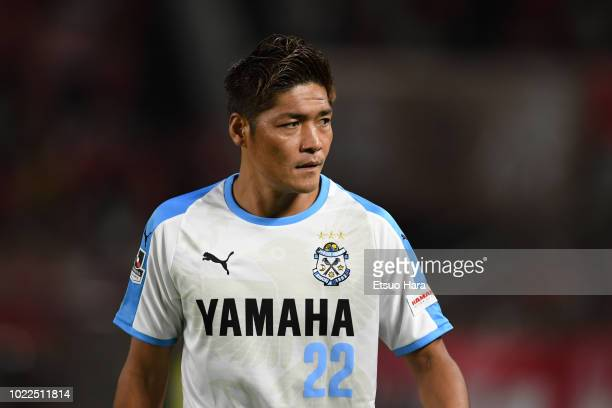 Yoshito Okubo of Jubilo Iwata looks on during the JLeague J1 match between Kashima Antlers and Jubilo Iwata at Kashima Soccer Stadium on August 24...