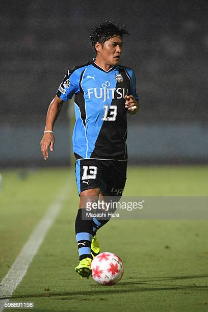 Yoshito Okubo of Kawasaki Frontale in action during the 96th Emperor's Cup first round match between Kawasaki Frontale and Blaublitz Akita at...