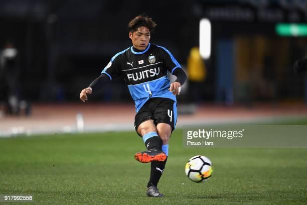 Yoshito Okubo of Kawasaki Frontale in action during the AFC Champions League Group F match between Kawasaki Frontale and Shanghai SIPG at Todoroki...