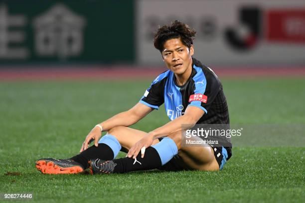Yoshito Okubo of Kawasaki Frontale looks on during the JLeague J1 match between Kawasaki Frontale and Shonan Bellmare at Todoroki Stadium on March 2...