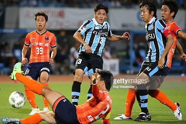 Yoshito Okubo of Kawasaki Frontale shoot during the J.League match between Kawasaki Frontale and Omiya Ardija at the Kawasaki Todoroki Stadium on...