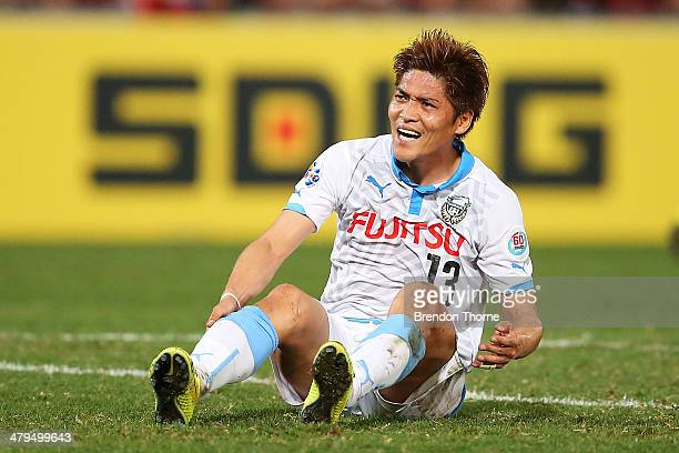 Yoshito Okubo of Kawasaki Frontale shows his frustration after a missed chance at goal during the AFC Asian Champions League match between the...