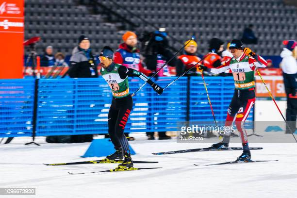 Yoshito Watabe and Wilhelm Denifl competes during Men's Nordic Combined HS130 2x75km Team Sprint at Lahti Ski Games in Lahti Finland on 9 February...
