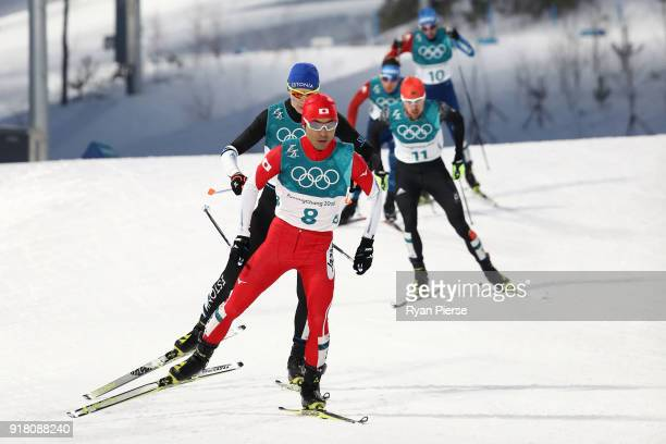 Yoshito Watabe of Japan competes during the Nordic Combined Individual Gundersen Normal Hill and 10km Cross Country on day five of the PyeongChang...