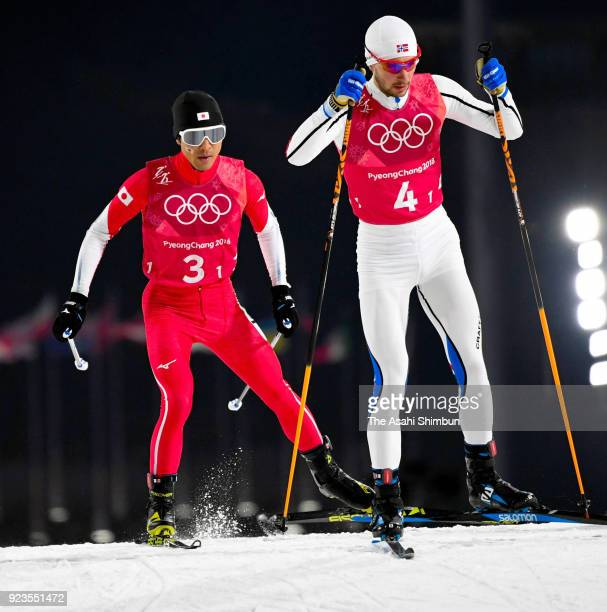 Yoshito Watabe of Japan competes during the Nordic Combined Team Gundersen Large Hill/4x5km CrossCountry on day thirteen of the PyeongChang 2018...