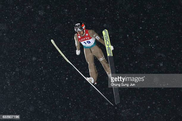 Yoshito Watabe of Japan competes in the Individual Gundersen LH 10km during the FIS Nordic Combined World Cup presented by Viessmann Test Event For...