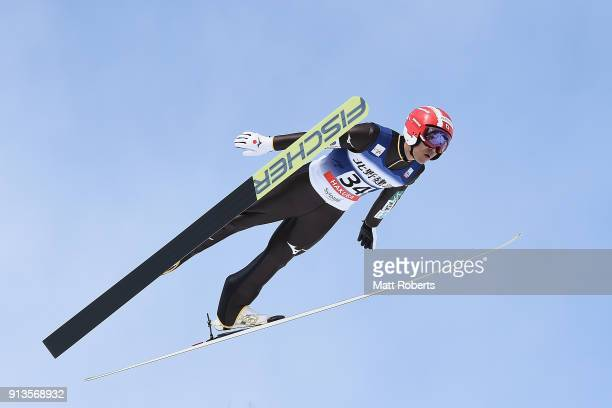 Yoshito Watabe of Japan competes in the Individual Gundersen LH/10km during day one of the FIS Nordic Combined World Cup Hakuba on February 3 2018 in...