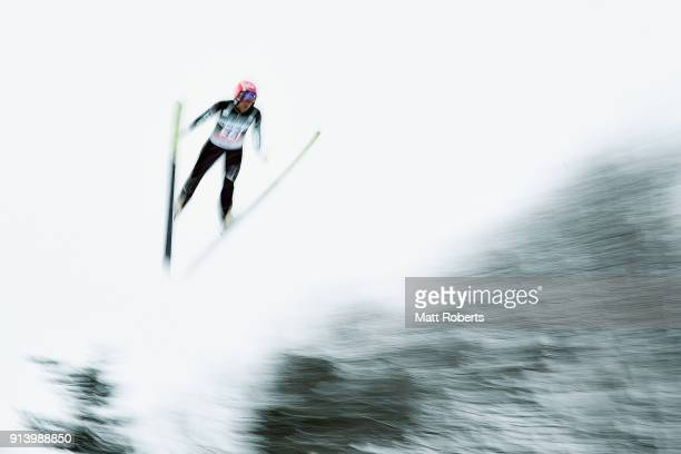 Yoshito Watabe of Japan competes in the Individual Gundersen LH/10km during day two of the FIS Nordic Combined World Cup Hakuba on February 4 2018 in...