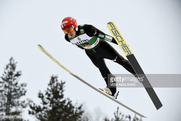Yoshito Watabe of Japan competes in the Nordic Combined HS 142 Ski Jumping Competition at the FIS Nordic Skiing World Cup in Ruka Finland on November...