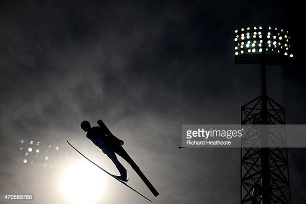 Yoshito Watabe of Japan competes in the Nordic Combined Men's Team LH during day 13 of the Sochi 2014 Winter Olympics at RusSki Gorki Jumping Center...