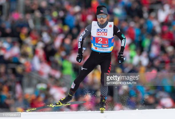 Yoshito Watabe of Japan competes in the Nordic Combined Men's Team Sprint HS130/2x75 km event at the FIS Nordic World Ski Championships in Seefeld...