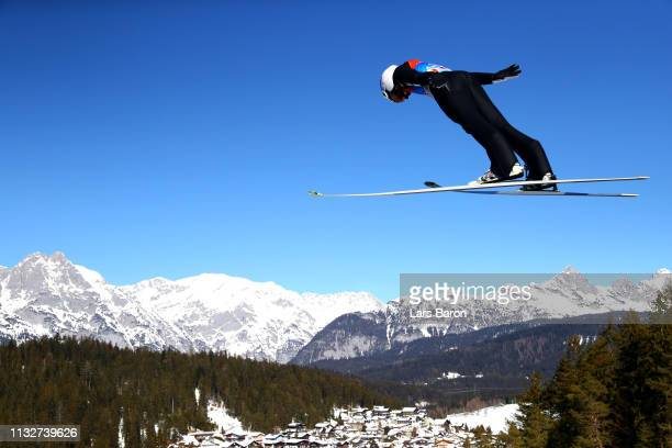 Yoshito Watabe of Japan competes in the ski jumping HS109 leg of the nordic combined during the 2019 Stora Enso FIS World Ski Championships at Toni...