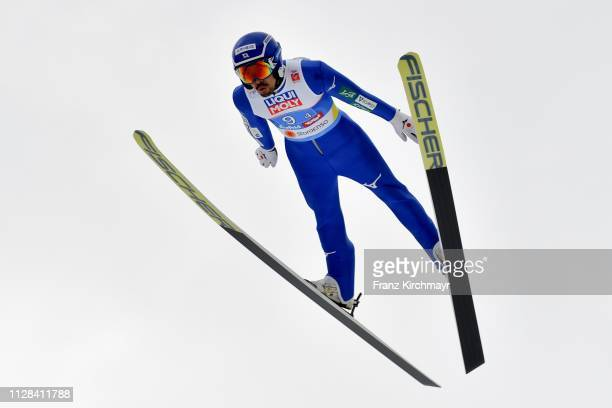 Yoshito Watabe of Japan during the Men's Nordic Combined HS109 Team at the FIS Nordic World Ski Championships at Toni Seelos Schanze Seefeld on March...
