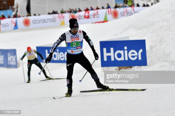 Yoshito Watabe of Japan during the Men's Nordic Combined HS109 Team at the FIS Nordic World Ski Championships at Langlauf Arena Seefeld on March 2...