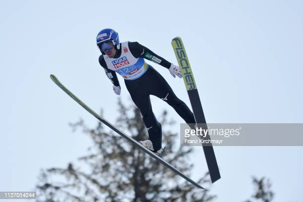 Yoshito Watabe of Japan during the Men's Team Ski Jumping HS130 at the FIS Nordic World Ski Championships at Bergisl Schanze on February 24 2019 in...