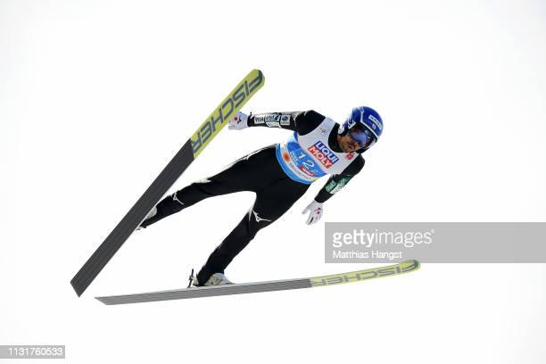 Yoshito Watabe of Japan jumps during the Team Sprint for the Nordic Combined during the FIS Nordic World Ski Championships at Bergisel Schanze on...