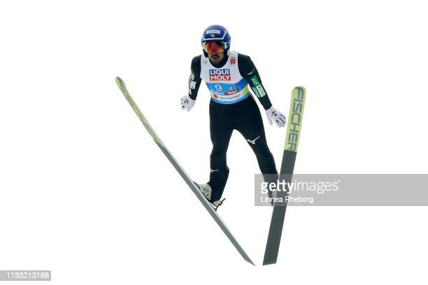 Yoshito Watabe of Japan jumps in the Ski Jumping HS109 leg of the Nordic Combined HS109 Team competition during the FIS Nordic World Ski...