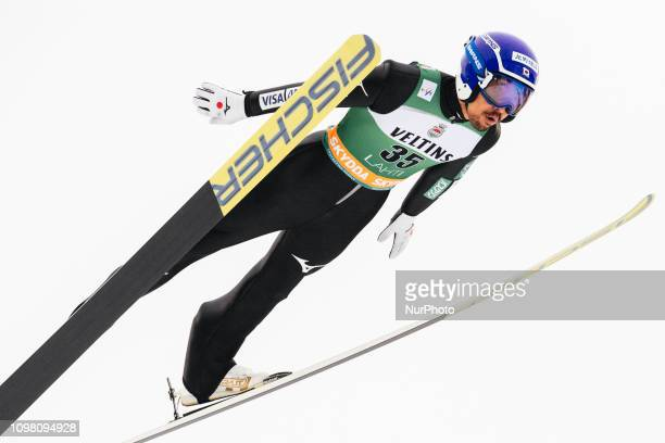 Yoshito Watabe participates in the FIS Nordic Combined World Cup Individual Gundersen LH/10km Ski Jumping Trial Round at the Lahti Ski Games in Lahti...