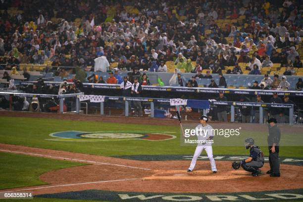 Yoshitomo Tsutsugo of Japan is seen during the Game 2 of the Championship Round of the 2017 World Baseball Classic between United States and Japan at...