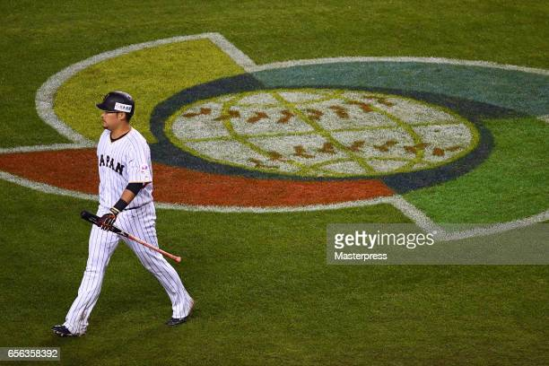 Yoshitomo Tsutsugo of Japan reacts to striking out during the Game 2 of the Championship Round of the 2017 World Baseball Classic between United...