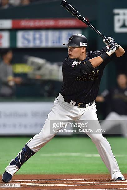 Yoshitomo Tsutsugo of Samurai Japan prepares to bat in the top of 6th inning during the sendoff friendly match for WBSC Premier 12 between Japan and...