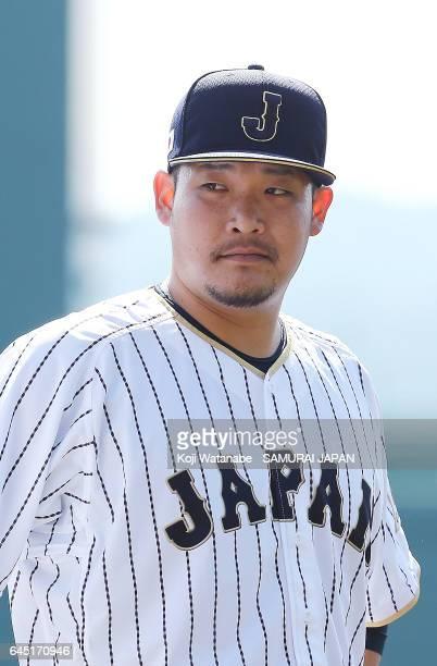 Yoshitomo Tsutsugoh of Samurai Japan is seen after the SAMURAI JAPAN Friendly Opening Match between SAMURAI JAPAN and Fukuoka SoftBank HAWKS at the...