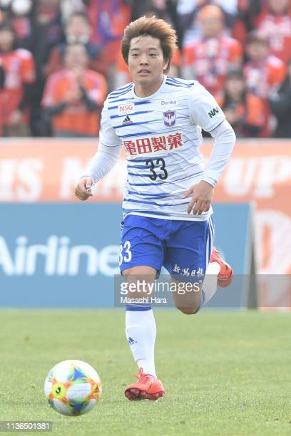 Yoshuaki Takagi of Albirex Niigata in action during the J.League J2 match between Yokohama FC and Albirex Niigata at nippatsu Mitsuzawa Stadium on...