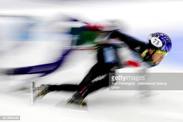Yoskiaki Oguro of Japan competes in the Women's 1500 meter rep heat during the ISU World Cup Short Track Speed Skating event on November 12 2016 in...