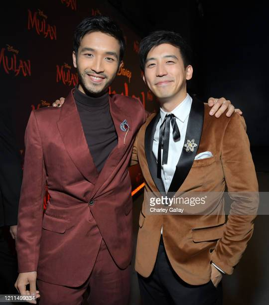 Yoson An and Jimmy Wong attend the World Premiere of Disney's 'MULAN' at the Dolby Theatre on March 09 2020 in Hollywood California
