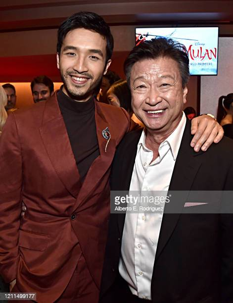Yoson An and Tzi Ma attend the World Premiere of Disney's 'MULAN' at the Dolby Theatre on March 09 2020 in Hollywood California