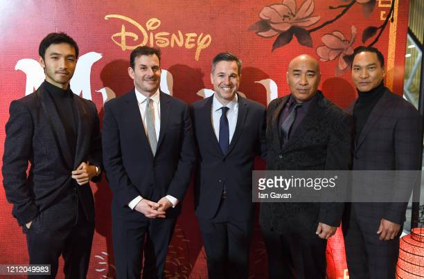 Yoson An Chris Bender Jake Weiner Ron Yuan and Jason Scott Lee attend the European Premiere of Disney's MULAN at Odeon Luxe Leicester Square on March...