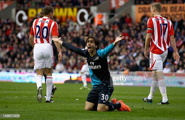 Yossi Benayoun of Arsenal appeals to the linesman for a penalty after being brought down by Glenn Whelan of Stoke City in the penalty box in the...