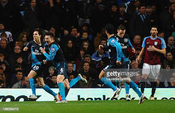 Yossi Benayoun of Arsenal celebrates scoring the second goal goal during the Barclays Premier League match between Aston Villa and Arsenal at Villa...