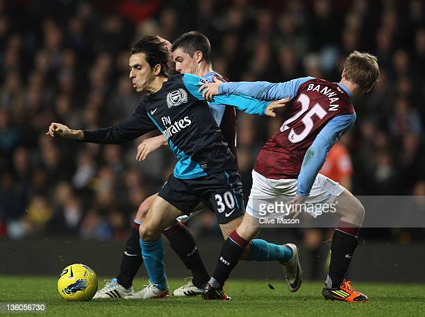 Yossi Benayoun of Arsenal in action during the Barclays Premier League match between Aston Villa and Arsenal at Villa Park on December 21 2011 in...