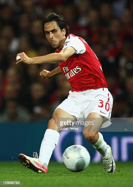 Yossi Benayoun of Arsenal in action during the Carling Cup Third Round match between Arsenal and Shrewsbury Town at Emirates Stadium on September 20...