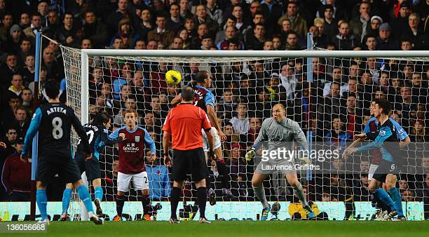 Yossi Benayoun of Arsenal scores the second goal goal during the Barclays Premier League match between Aston Villa and Arsenal at Villa Park on...
