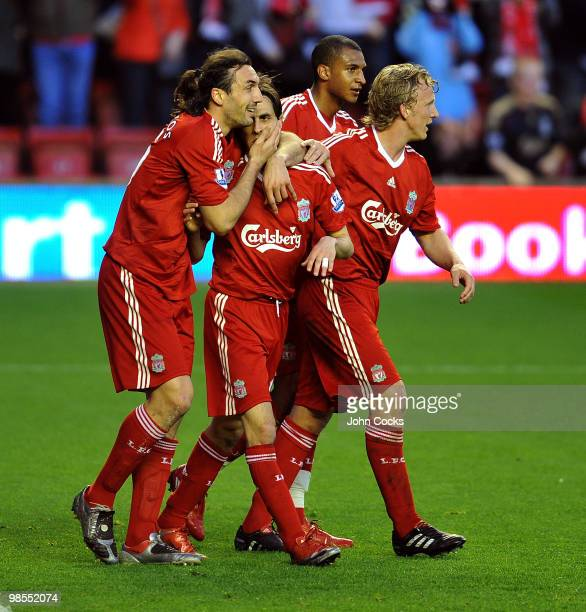 Yossi Benayoun of Liverpool celebrates after scoring the opening goal during the Barclays Premier League match between Liverpool and West ham United...