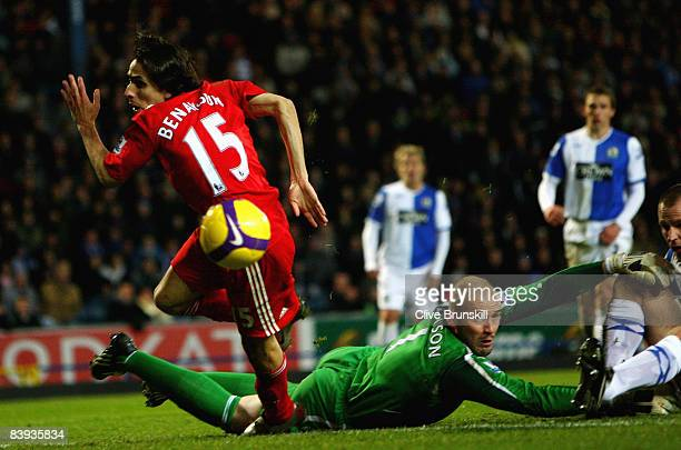 Yossi Benayoun of Liverpool goes through on goal but fails to score as Paul Robinson of Blackburn Rovers is left on the floor during the Barclays...