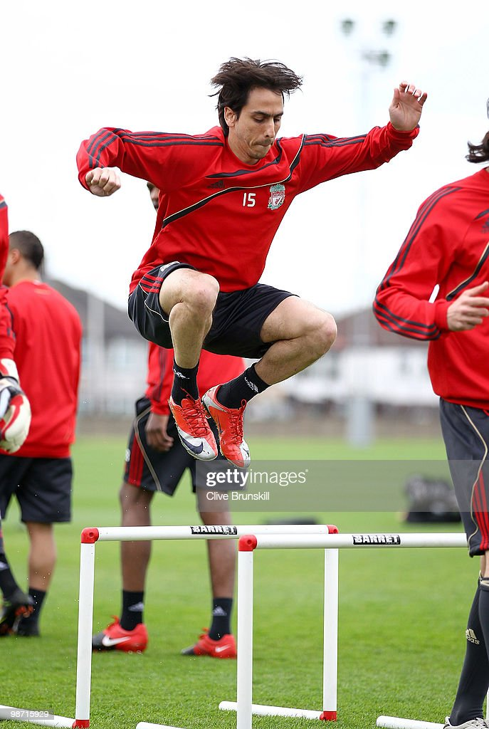 Yossi Benayoun of Liverpool in action during a training session prior to the UEFA Europa League semi final second leg match between Liverpool and Athletico Madrid at Melwood training ground on April 28, 2010 in Liverpool, England.