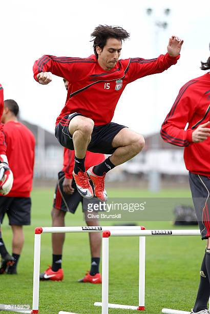 Yossi Benayoun of Liverpool in action during a training session prior to the UEFA Europa League semi final second leg match between Liverpool and...