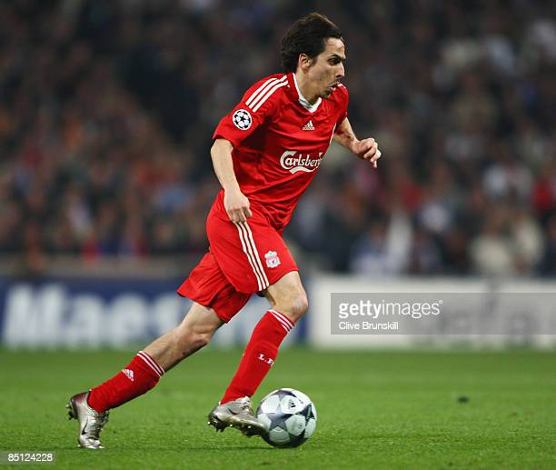 Yossi Benayoun of Liverpool in action during the Champions League Round of 16 First Leg match between Real Madrid and Liverpool at the Estadio...