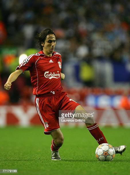 Yossi Benayoun of Liverpool in action during the UEFA Champions League Group A match between Liverpool v Marseille at Anfield on October 3 2007 in...