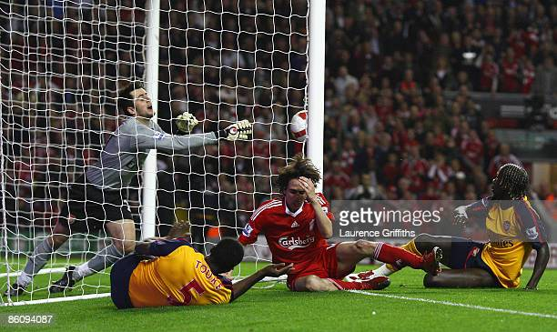 Yossi Benayoun of Liverpool scores his team's second goal during the Barclays Premier League match between Liverpool and Arsenal at Anfield on April...