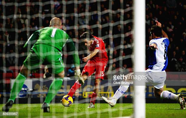 Yossi Benayoun of Liverpool scores the second goal during the Barclays Premier League match between Blackburn Rovers and Liverpool at Ewood Park on...