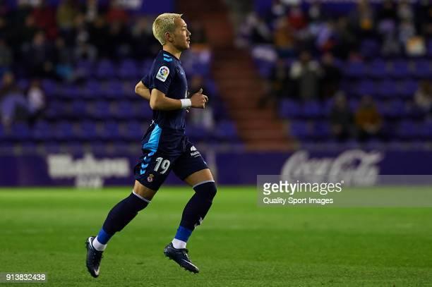 Yosuke Ideguchi of Cultural Leonesa in action during the LaLiga 123 match between Valladolid and Cultural Leonesa at Estadio Jose Zorrilla on...